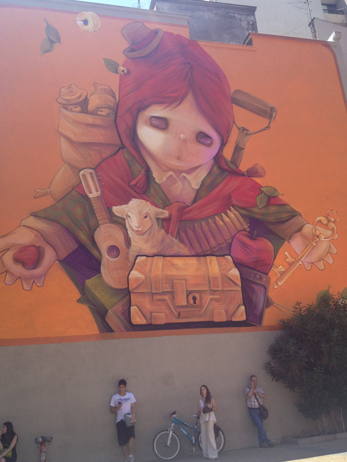 Andean inspired mural in Santiago de Chile