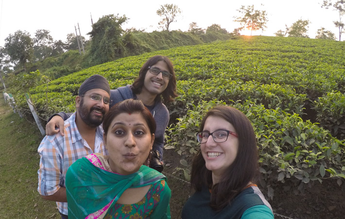 Hanging out with friends by the tea gardens of Assam, India.