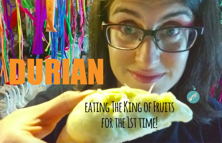 Eating durian for the first time in Thailand