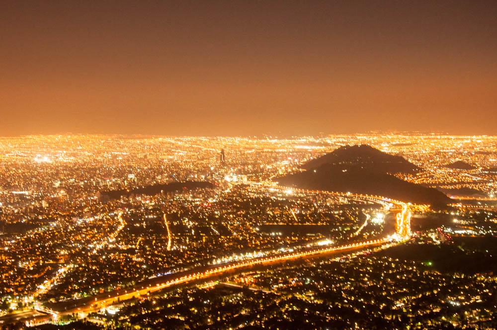 Santiago lights at night