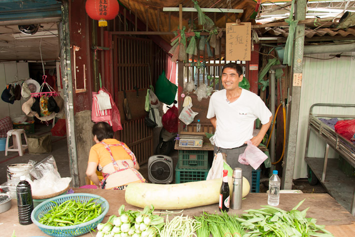 Friendly vendor at the Yong Chun Market