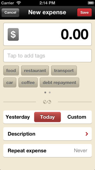 Adding on expense on the iOS App