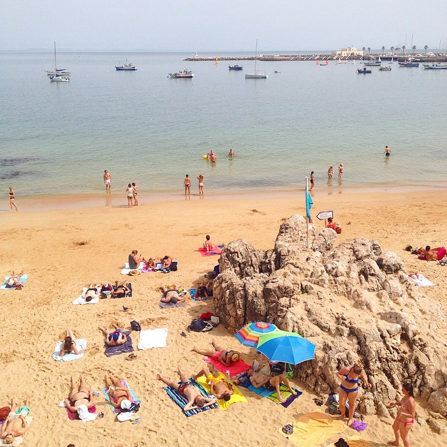 Lounging at the beach in Cascais, Portugal