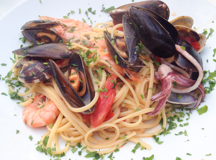 A perfect plate of spaghetti with seafood, at the Amalfi Coast