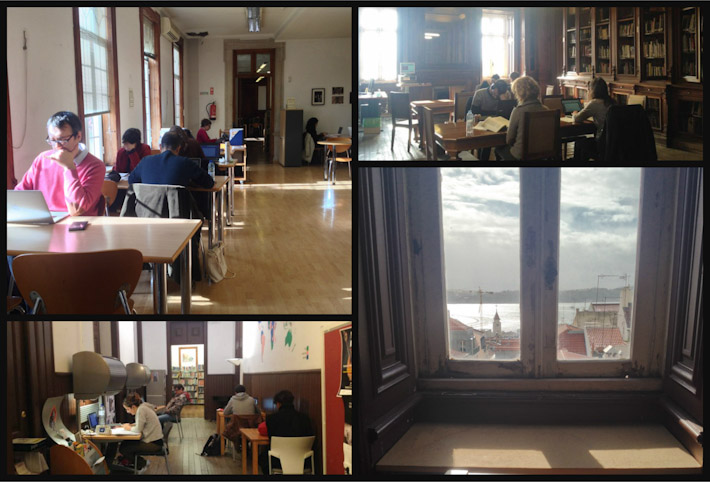 Different study and work rooms within Camoes Library in downtown Lisbon