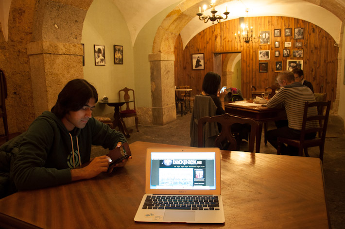 Enjoying the free WIFI at Fabulas Cafe in Downtown Lisbon