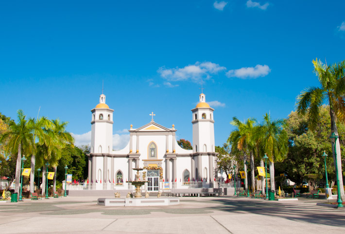 Church at the central square of Juana Diaz