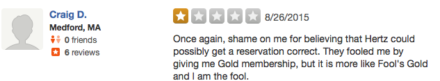 Craig wasn't impressed, and neither were we (review from Yelp)