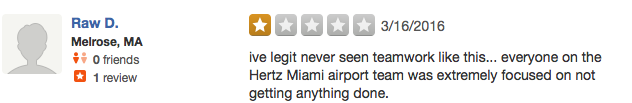 Raw D. got a raw deal at Hertz! Oh well, it seems like it's just business as usual at Miami Airport location...