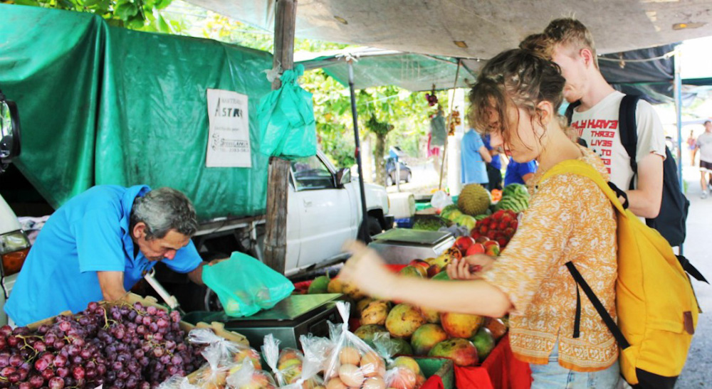 Charlie buying local at Quepos farmers market, Costa-Rica