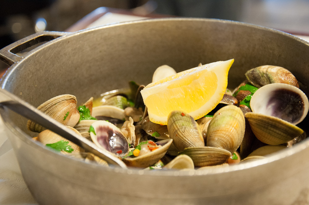Clams in white wine sauce, at Portugalia Restaurant Newark
