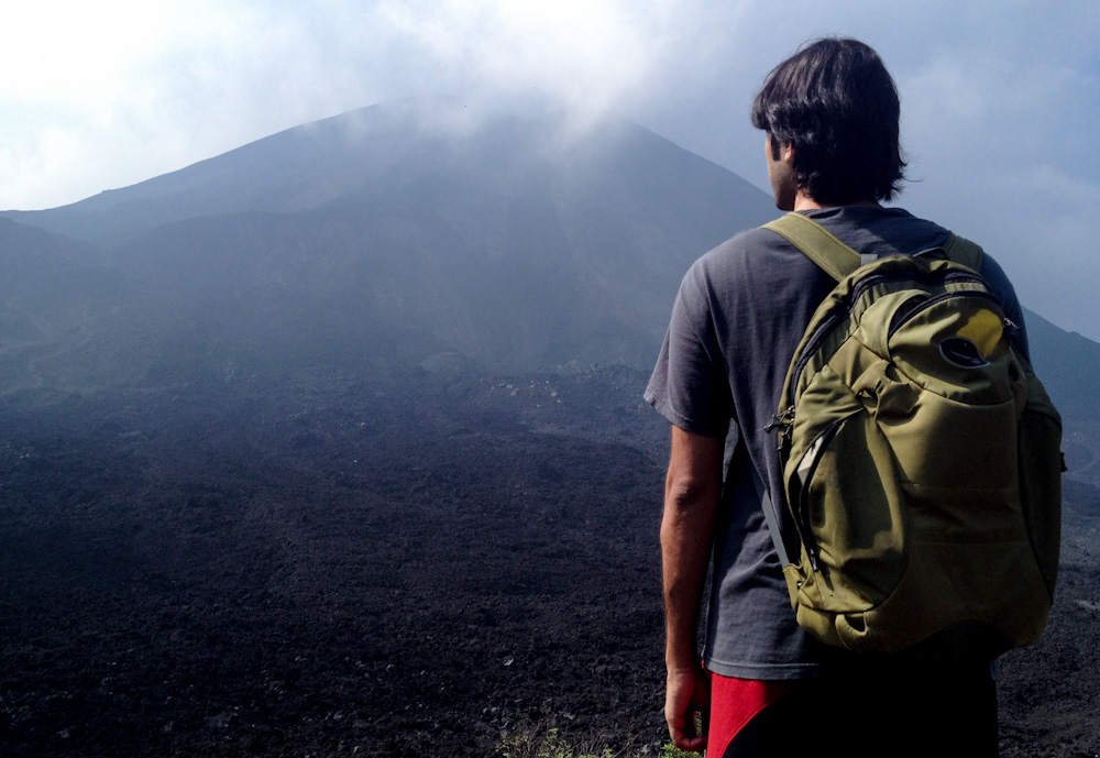 Admiring Pacaya Volcano from the trail
