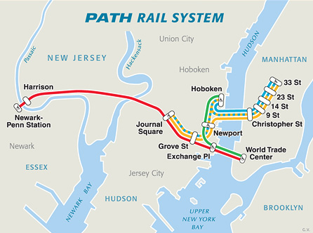 The Path train can take you from Manhattan to Newark in about 1 hour