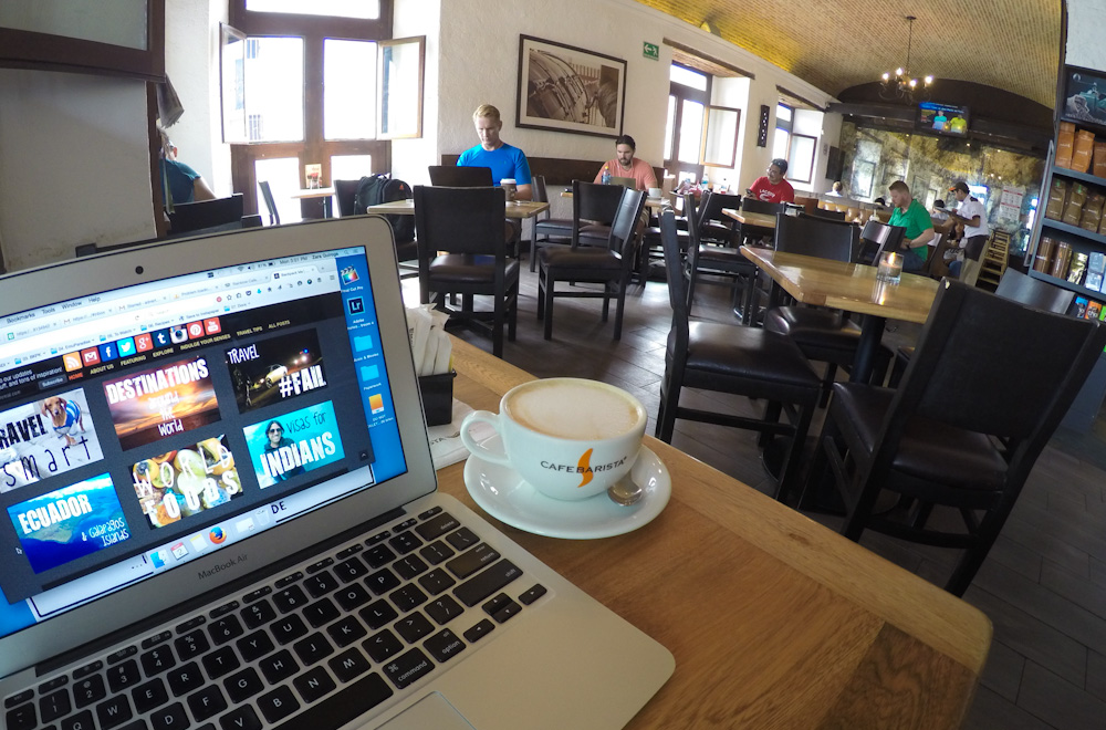 Free WIFI at Cafe Barista in Antigua Guatemala