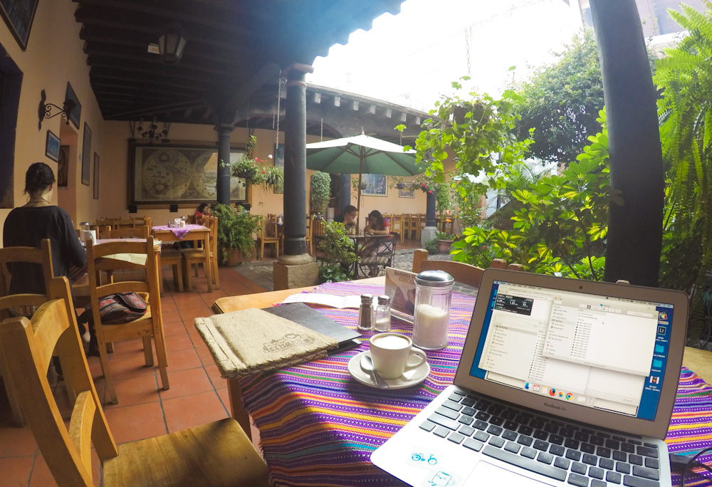 Working at Fernando's Kaffee courtyard
