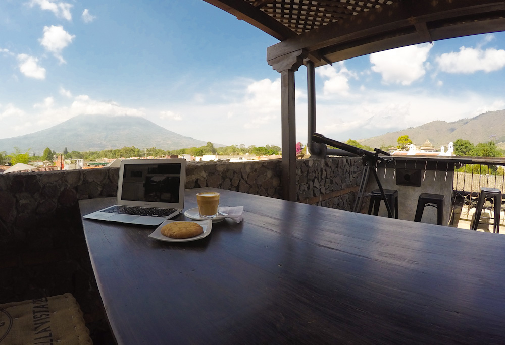 The rooftop of Cafe Vella Vista, with Agua volcano in the distance