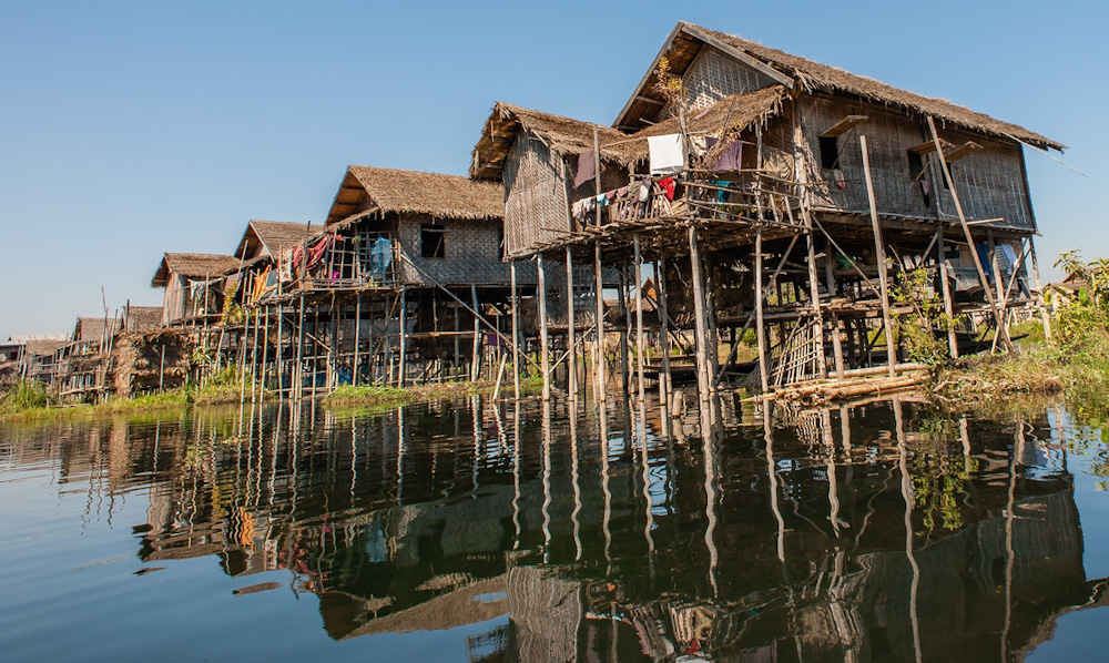 Village on stilts at the Inle Lake