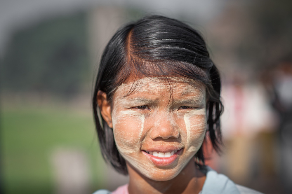 Burmese girl wearing thanaka