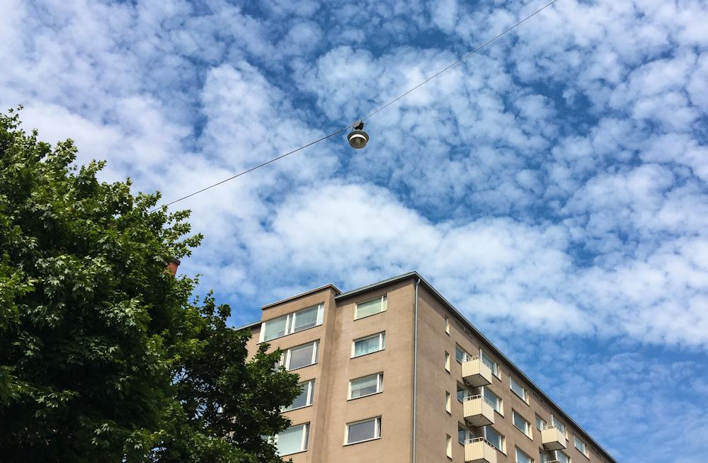Hanging street lamps in Helsinki
