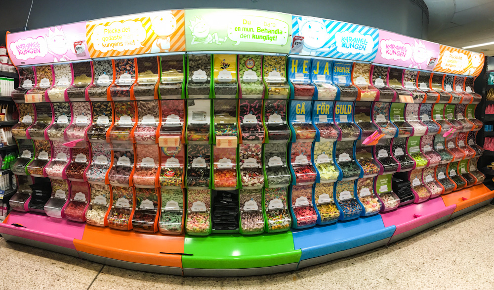 Candy display at a Swedish supermarket