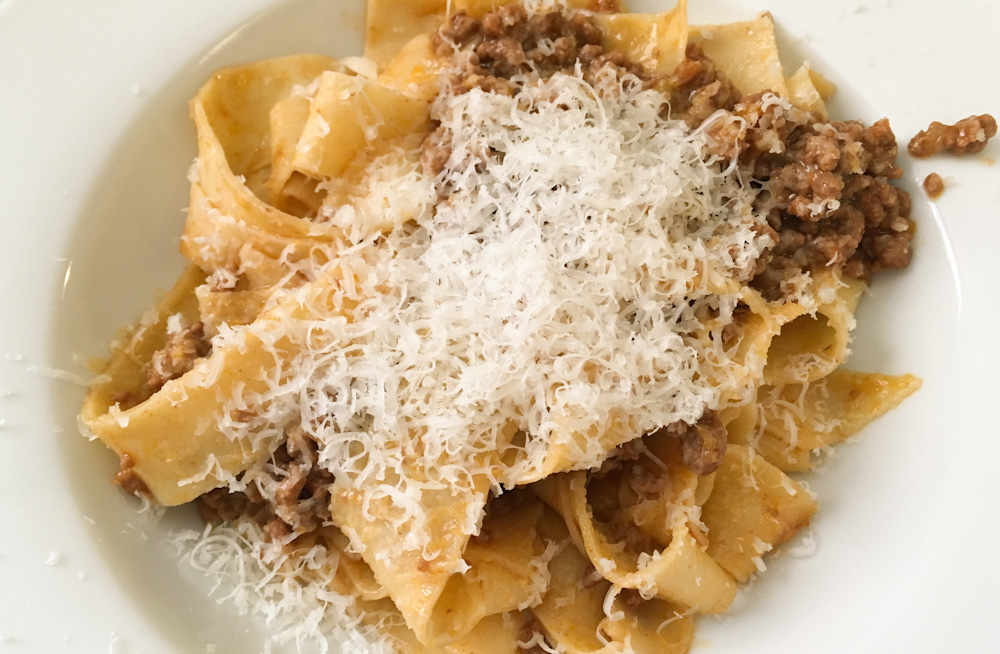 The famous Tagliatelle al Ragu from Bologna, freshly made at Il Salotto di Penelope