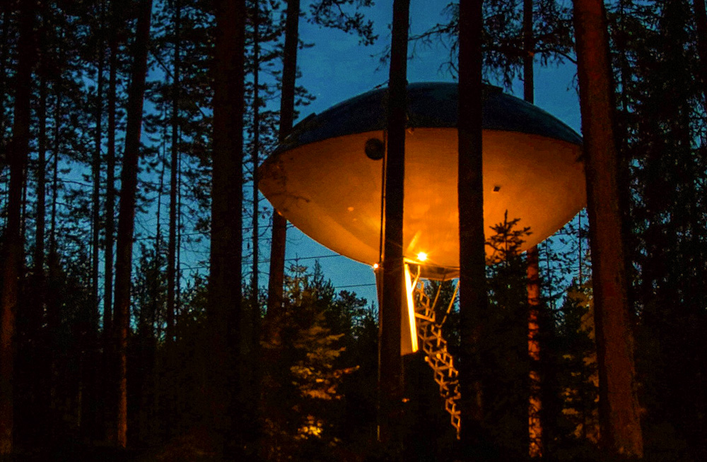 The UFO at Treehotel Sweden, at night
