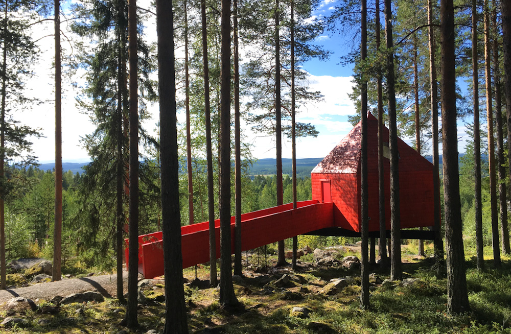 The Blue Cone at Treehotel Sweden, a wheelchair accessible tree house