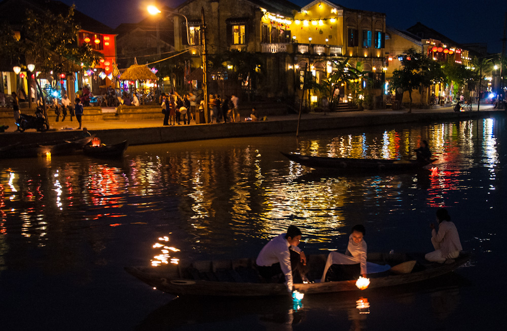 Evenings lights by the river in Hoi An