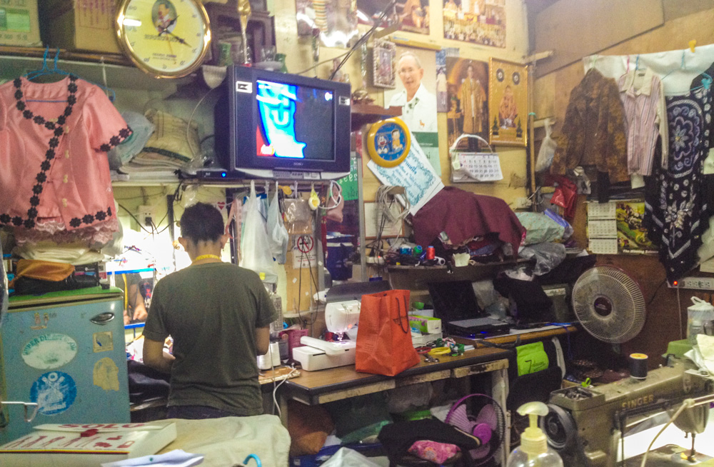 Tailoring shop inside Khlong Toei Market