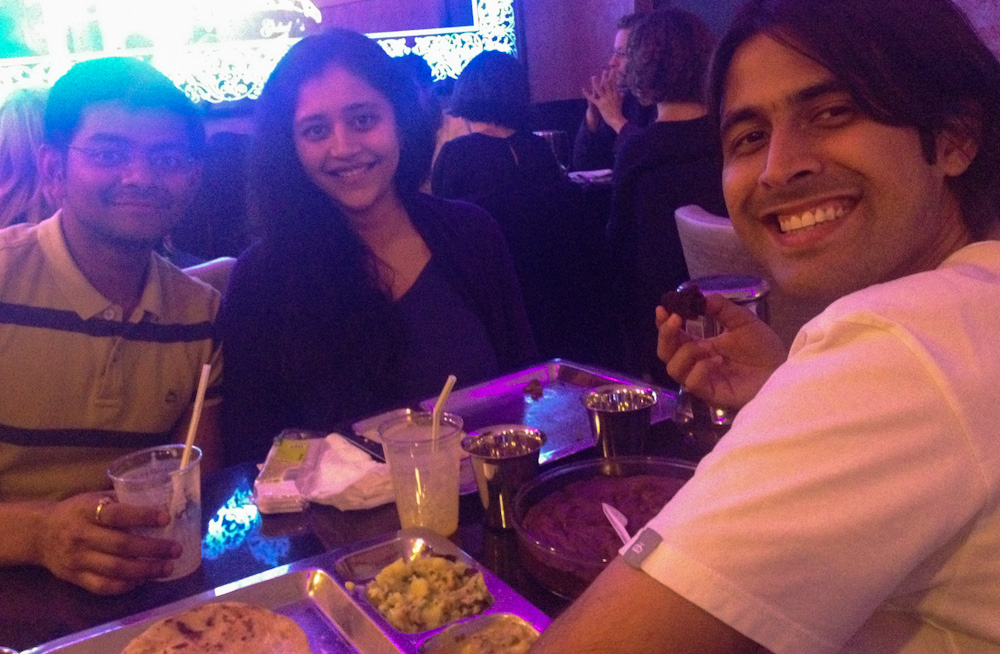 Enjoying an authentic South Indian meal with friends in Paris