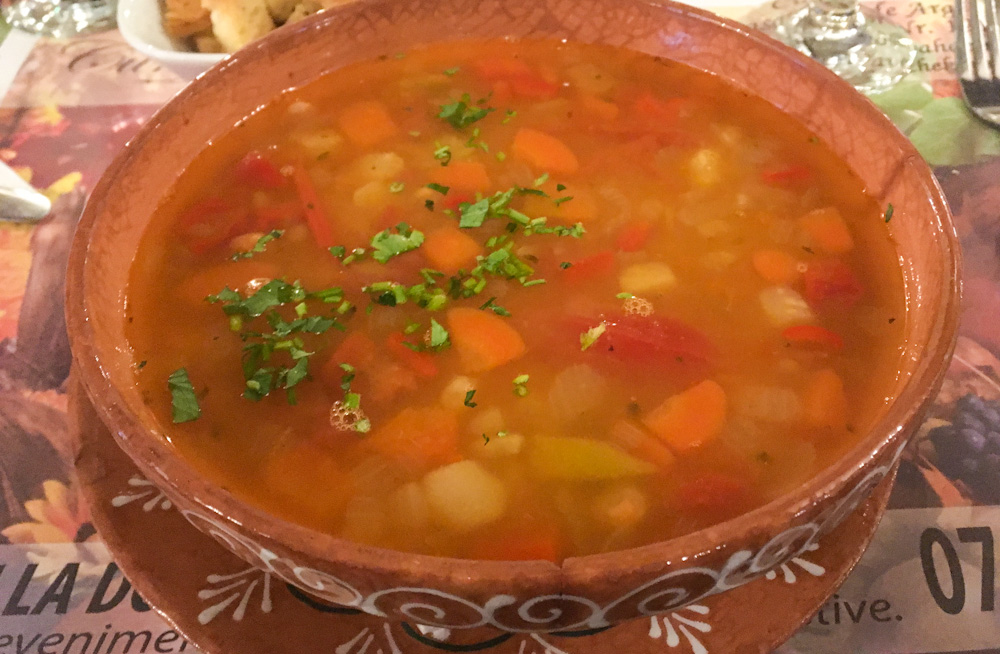 Typical Romanian white bean soup
