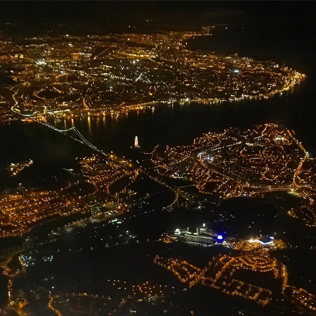 Aerial Lisbon by night