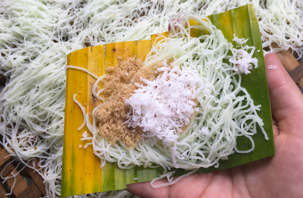 Sri Lankan Putu Mayam - shredded rice noodles with grated coconut and palm sugar