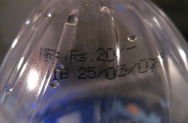 Maximum Retail Price printed on a bottle of water in India