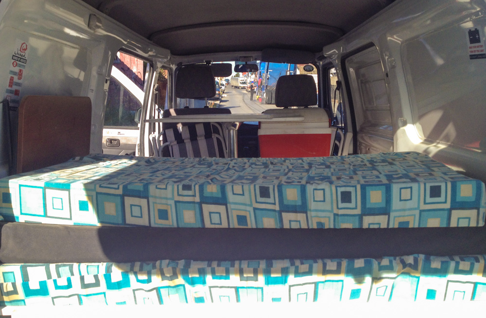 Mattresses inside our Wicked Camper