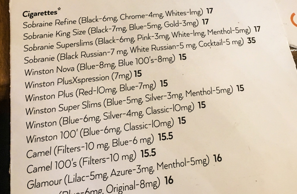 Cigarettes in a restaurant menu in Bucharest