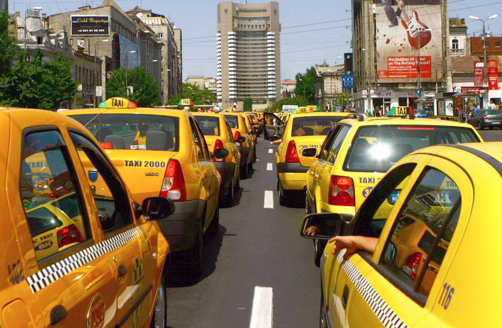 Crazy number of taxis in Bucharest