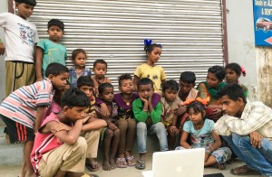 Street Cinema with kids in Delhi