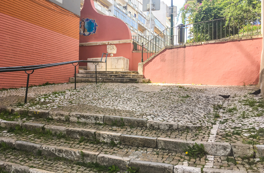 Cobblestoned stairs in Lisbon