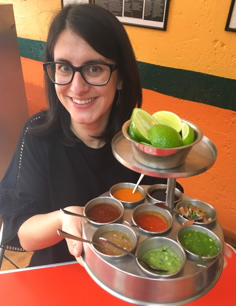 A variety of sauces and salsas at a restaurant in Mexico