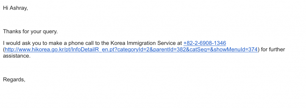 Korea Immigration Service Telephone