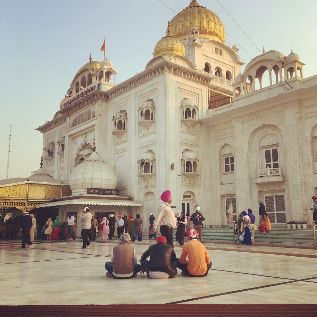 Prayer time at Gurudwara Bangla Sahib in New Delhi