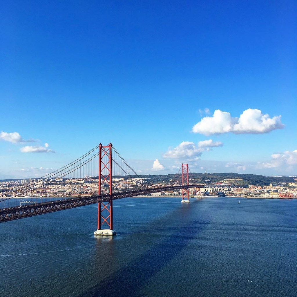 Lisbon as seen from Christ the King's statue in Almada