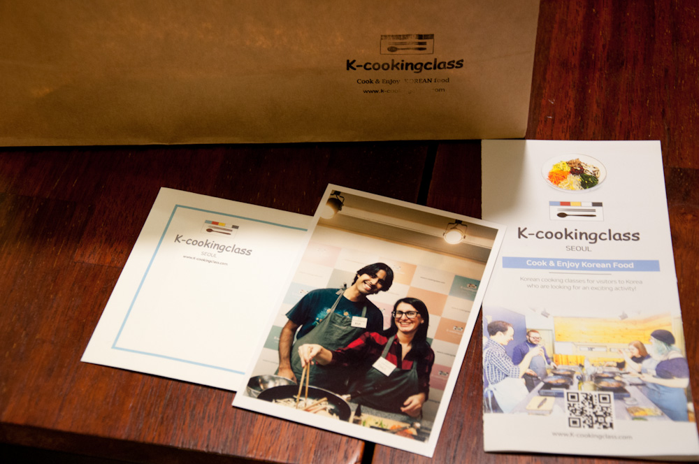 K-cookingclass experience includes take away food, menu cards and a cool photo printed on the spot!