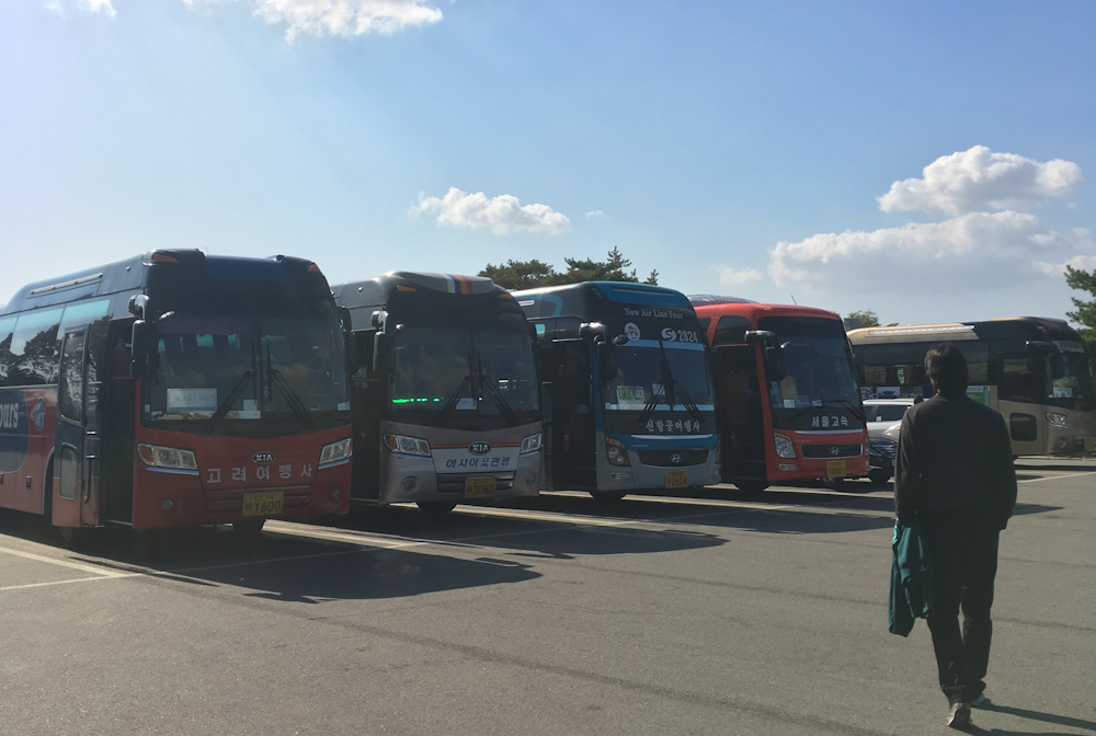 Tour buses parked at Imjingak Village