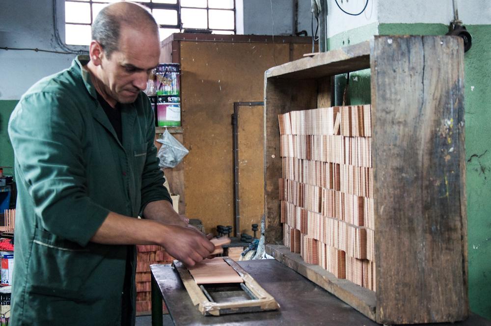 Assembling pencils at Viarco's pencil factory