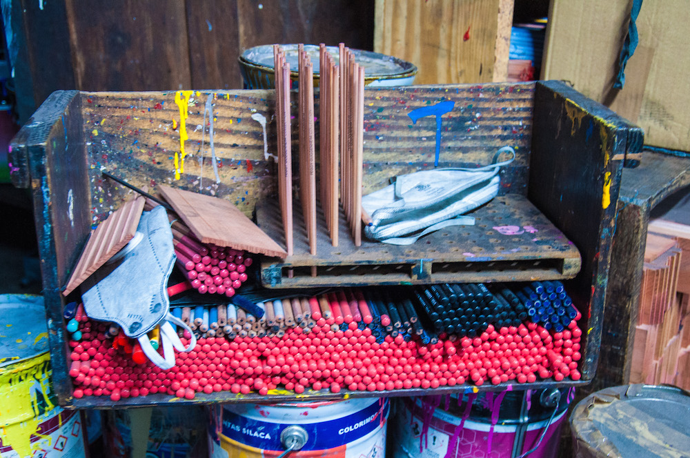 Wooden pencils before they are covered in paint, for decoration and extra resistance