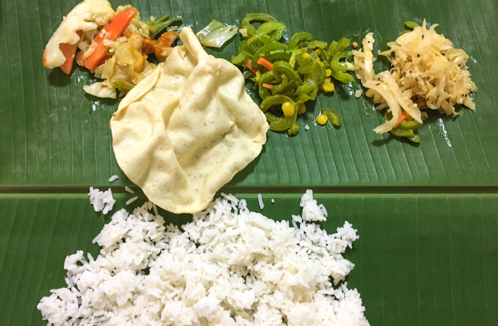 Pure vegetarian South-Indian meal served on banana leaf