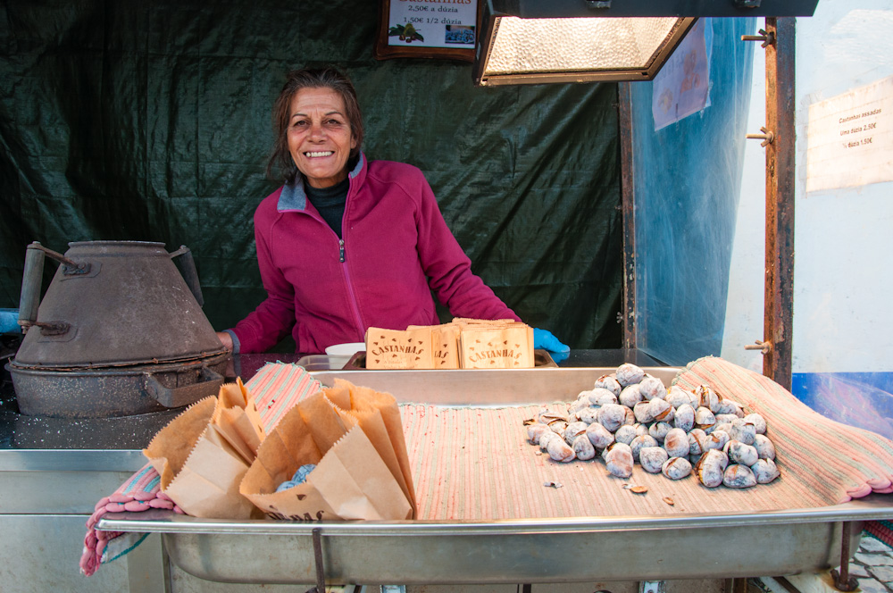 Roasted chestnuts are a typical winter treat in Portugal. They are usually roasted over charcoal and sold by street vendors.
