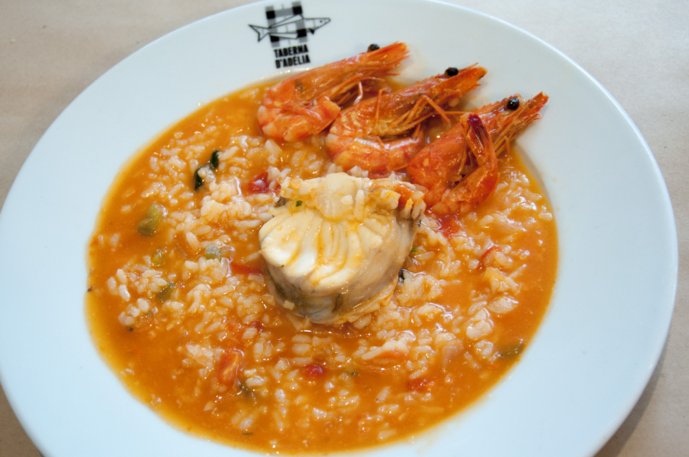 Arroz de Tamboril. Taberna D'Adélia's take on saucy monkfish rice.